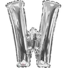 Silver 34 inch Letter W Balloon Delivery