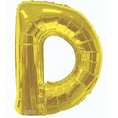 34in Gold Letter D Balloon Delivery