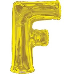 34in Gold Letter F Balloon Delivery