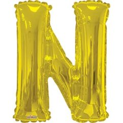 34in Gold Letter N Balloon Delivery