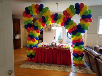 Multi color Mickey Mouse ears balloon arch