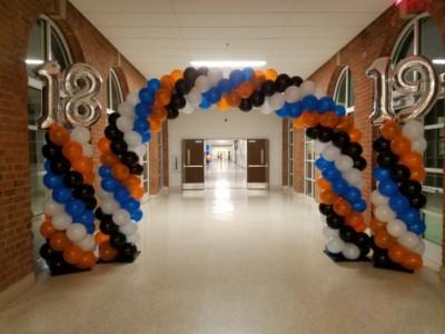 custom spiral balloon arch and columns