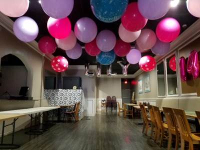 Hugh birthday balloons ceiling decor